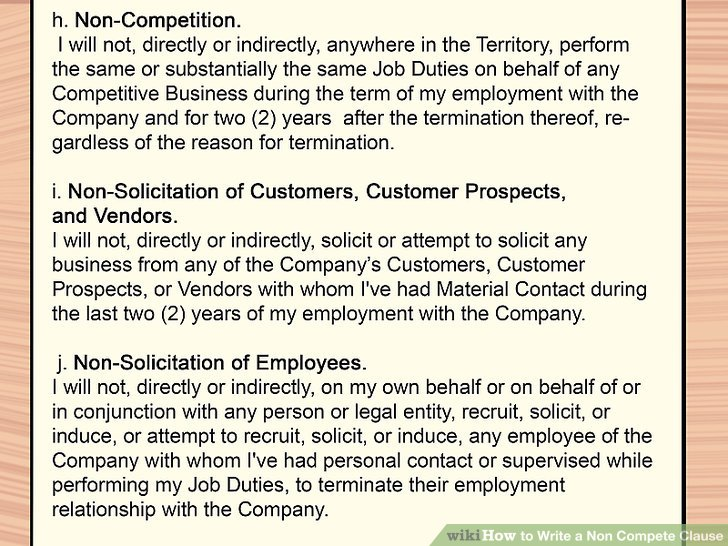 How to Write a Non Compete Clause 11 Steps (with Pictures)