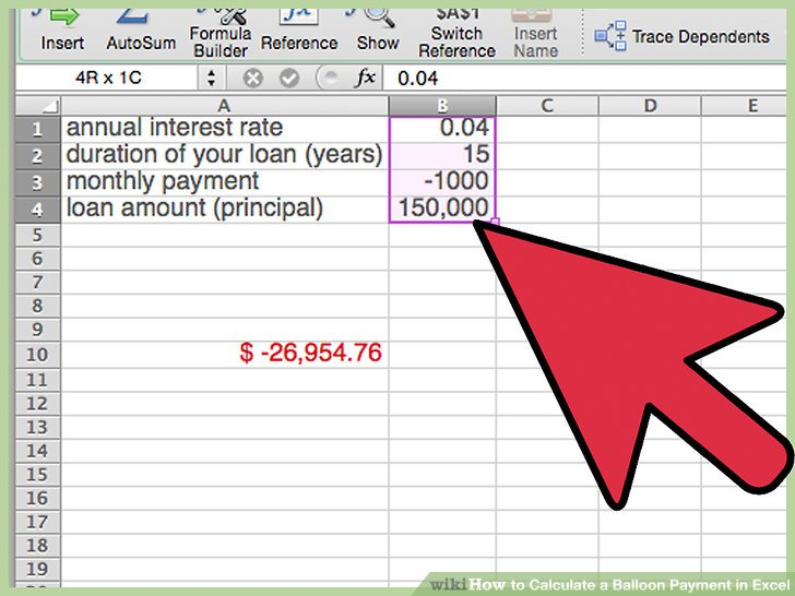 How to Calculate a Balloon Payment in Excel (with Pictures)