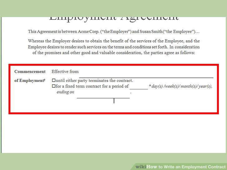 How to Write an Employment Contract (with Pictures) - wikiHow