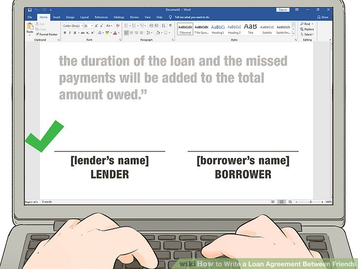 How to Write a Loan Agreement Between Friends (with Pictures)