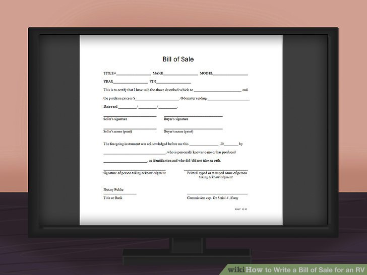 How to Write a Bill of Sale for an RV 11 Steps (with Pictures) - bill of sale sample