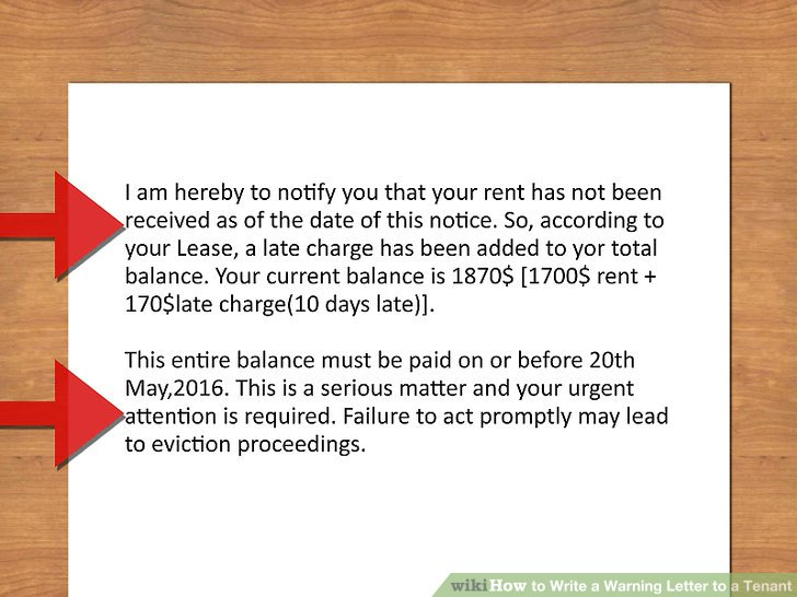 3 Ways to Write a Warning Letter to a Tenant - wikiHow - eviction warning letter