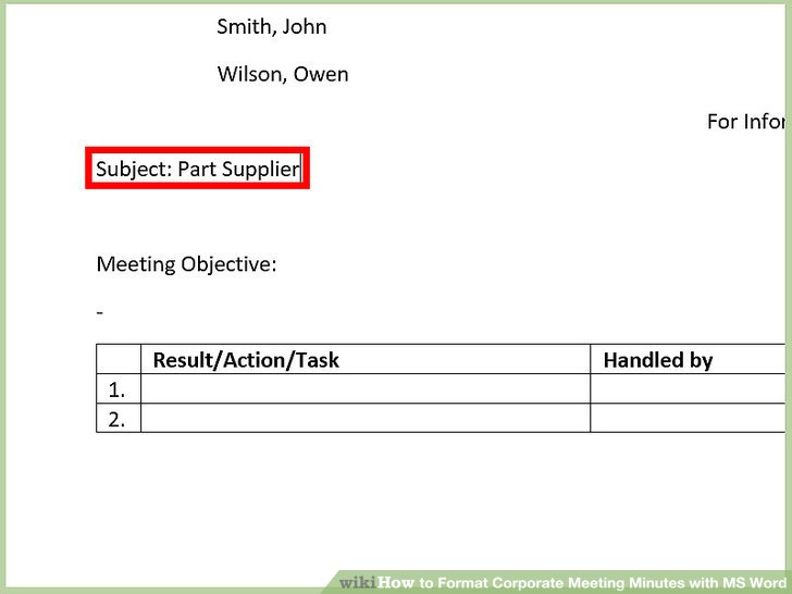 How to Format Corporate Meeting Minutes with MS Word 13 Steps - meeting minutes format word
