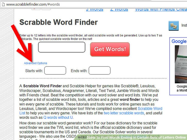 How to Find Words Ending in Certain Sets of Letters Online - letters online