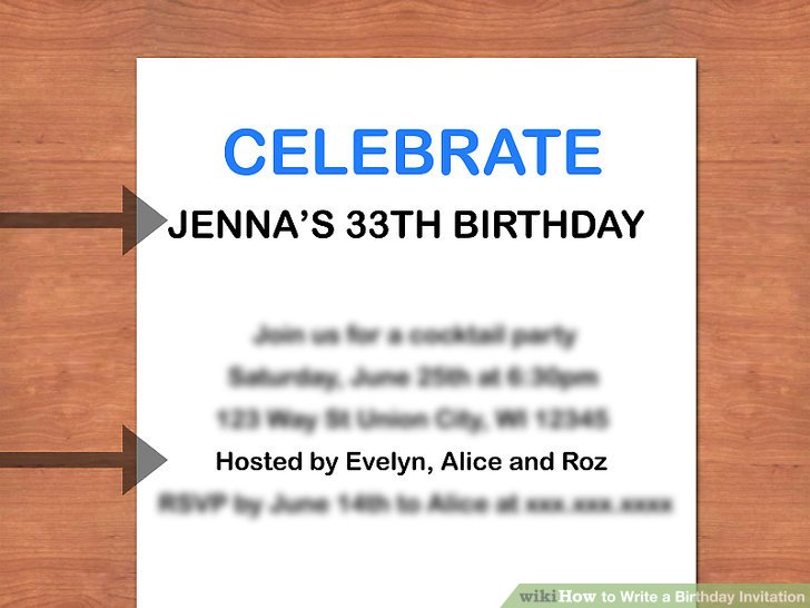 How to Write a Birthday Invitation 14 Steps (with Pictures) - birthday invitations sample