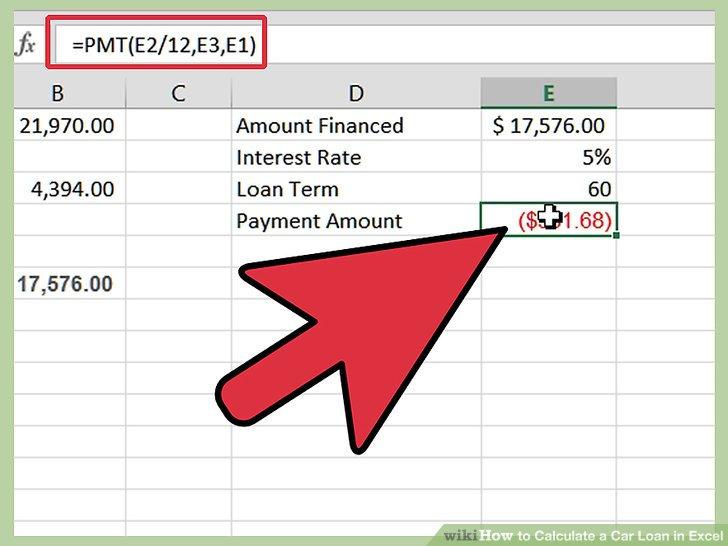 car loan calculation formula excel