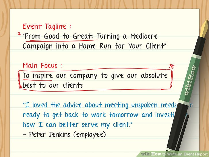 How to Write an Event Report (with Examples) - wikiHow