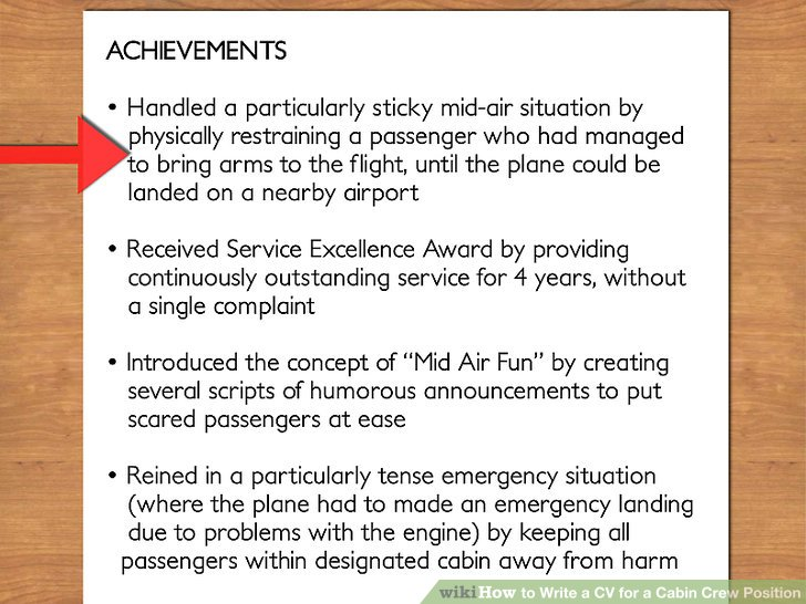How to Write a CV for a Cabin Crew Position (with Pictures) - Achievements For Resume