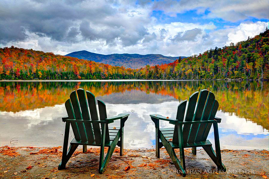 Fall Colors Wallpaper New England Heart Lake Shore Two Adirondack Chairs Wildernesscapes