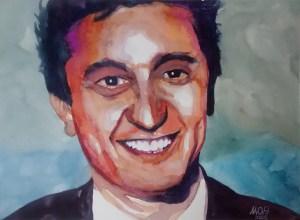Colored journalist watercolor - David Parenzo