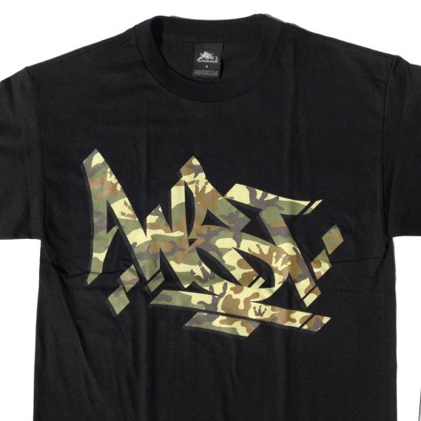 WST Camo Steez print on Black Tee