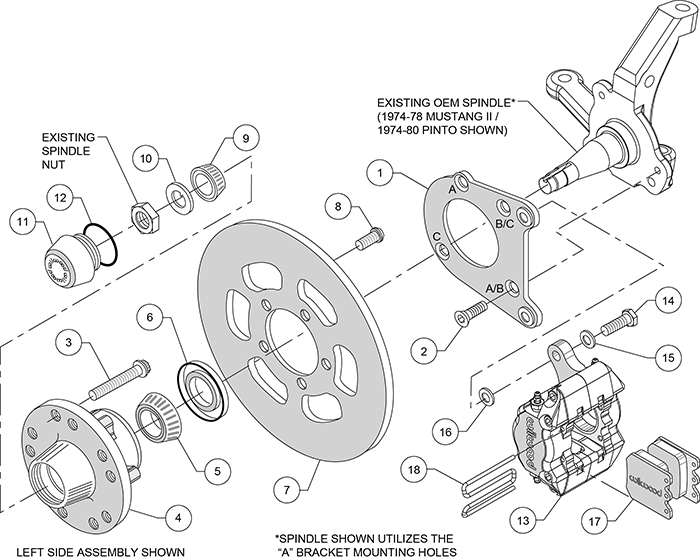 Wilwood Disc Brakes - 1971 ford pinto disc brake spindle - Front