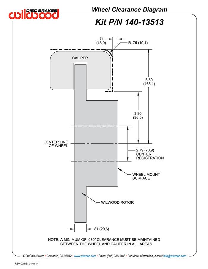 Wilwood Disc Brakes - Rear Brake Kit Part No 140-13513-DR