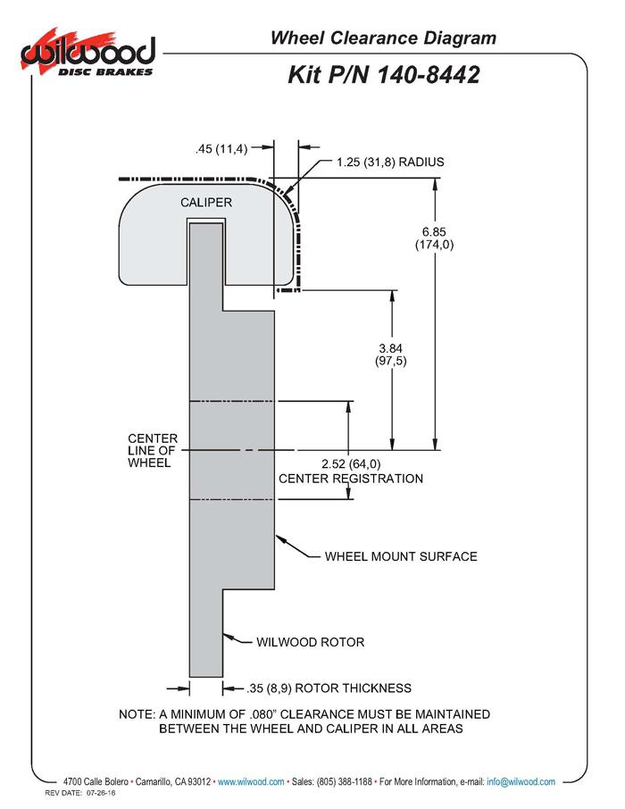 Wilwood Disc Brakes - Front Brake Kit Part No 140-8442-D