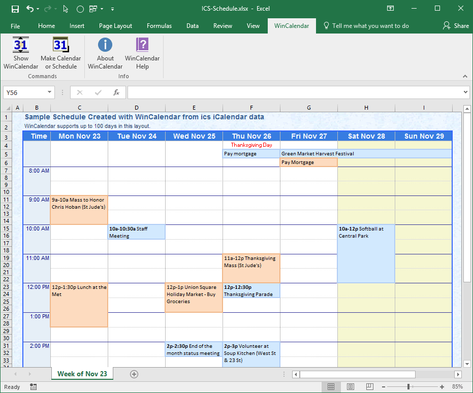 excel calendar monthly