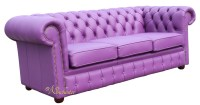 Chesterfield 3 Seater Settee Wineberry Purple Leather Sofa ...