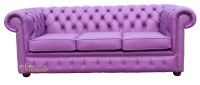 Purple Leather Sofa Chesterfield 2 Seater Settee Wineberry ...