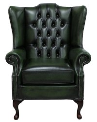Green Chesterfield Prince High Back Wing chair ...