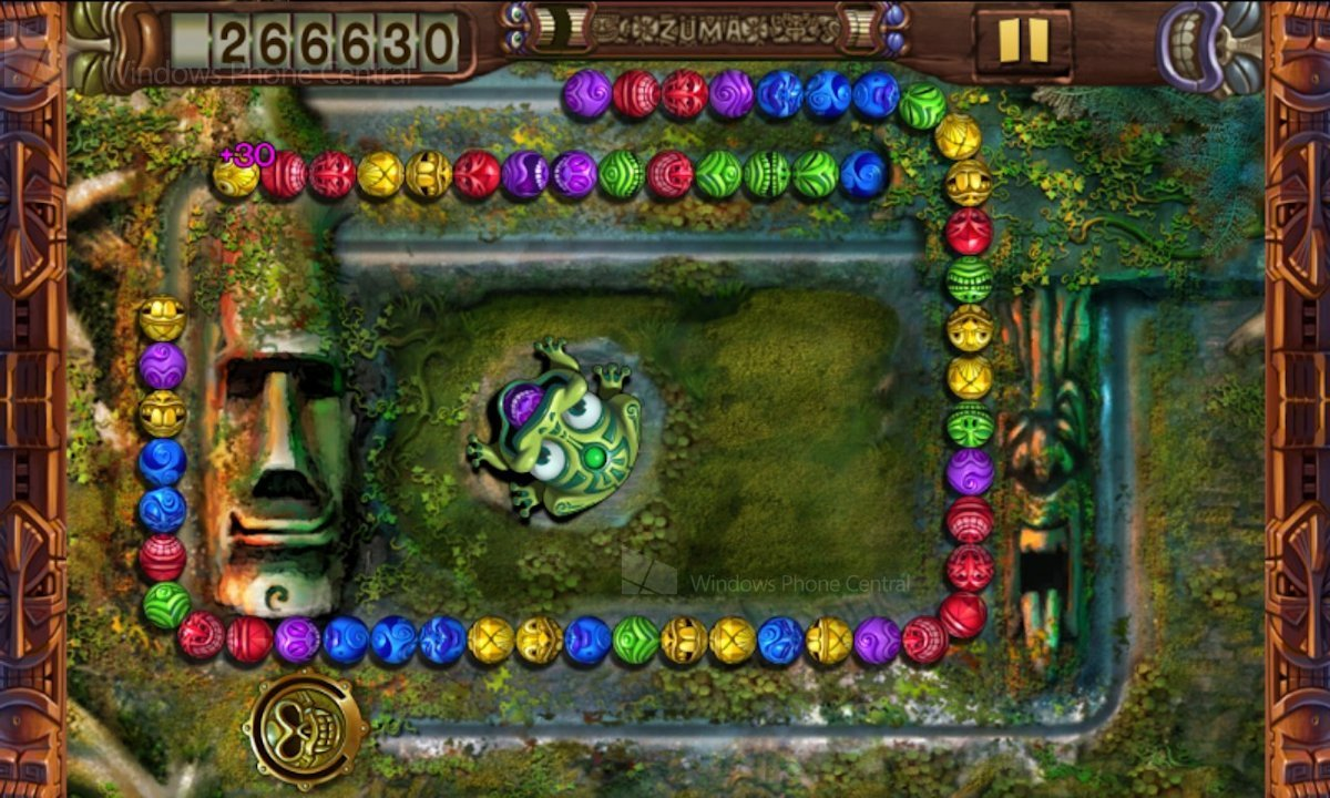 Zuma is a variation of the match three puzzler in which players control a frog and fire colored balls from his mouth at an oncoming line of balls
