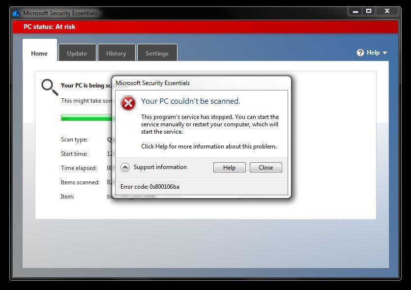 Microsoft addresses Security Essentials and Defender error 0x800106ba