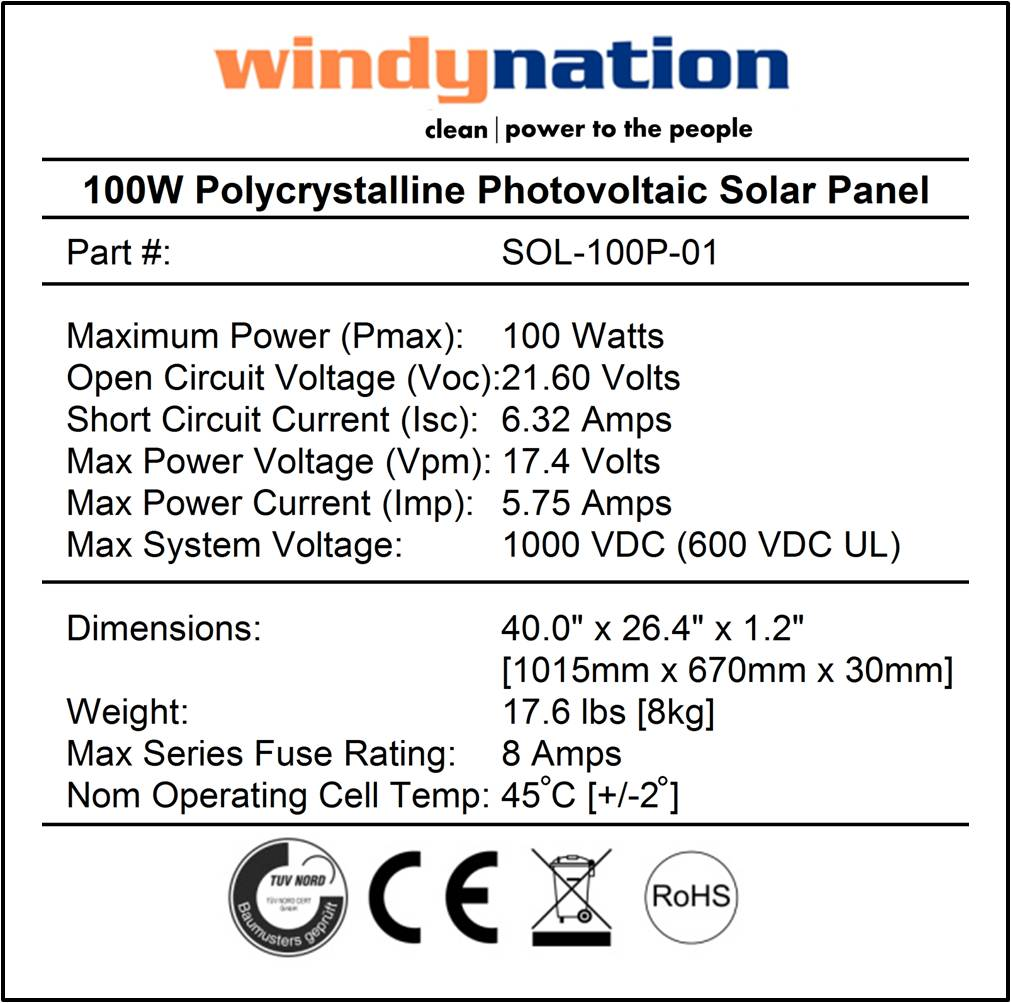 100 W Inverter Circuit Diagram 100 Watt 12 Volt Polycrystalline Photovoltaic Solar Panel
