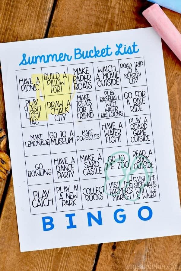 Free Printable Summer Bucket List Bingo - Wine  Glue