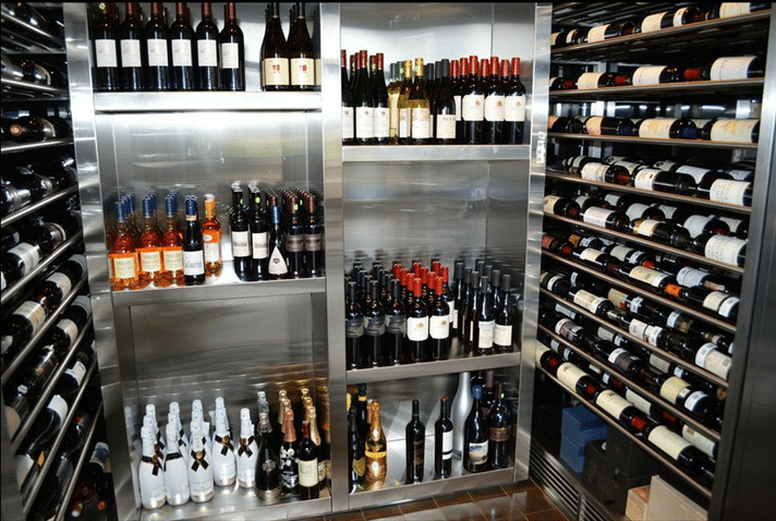 Stainless Steel Contemporary Home Wine Cellar Miami