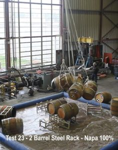 Barrels stacked on steel racks would only pass 75% Napa quake energy.