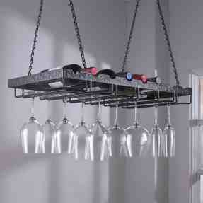 Wine Enthusiast Metal Hanging Wine Glass Rack