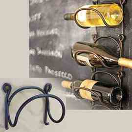 Rack and Hook Wrought Iron Modular Wine Bottle Rack Wall Mounted