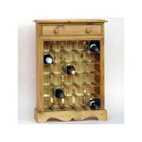 30 Bottle Pine Wooden Wine Cabinet / Rack with Plinth ...