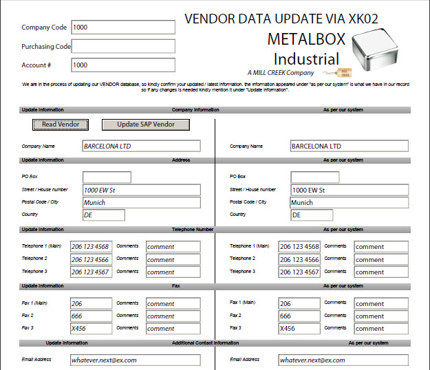 SAP Change Vendor (XK01 and XK02) Automate With Winshuttle - return to vendor form template