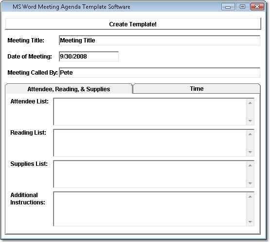 Meeting Agenda Template In Word 2007 Cover Letter And Resume With