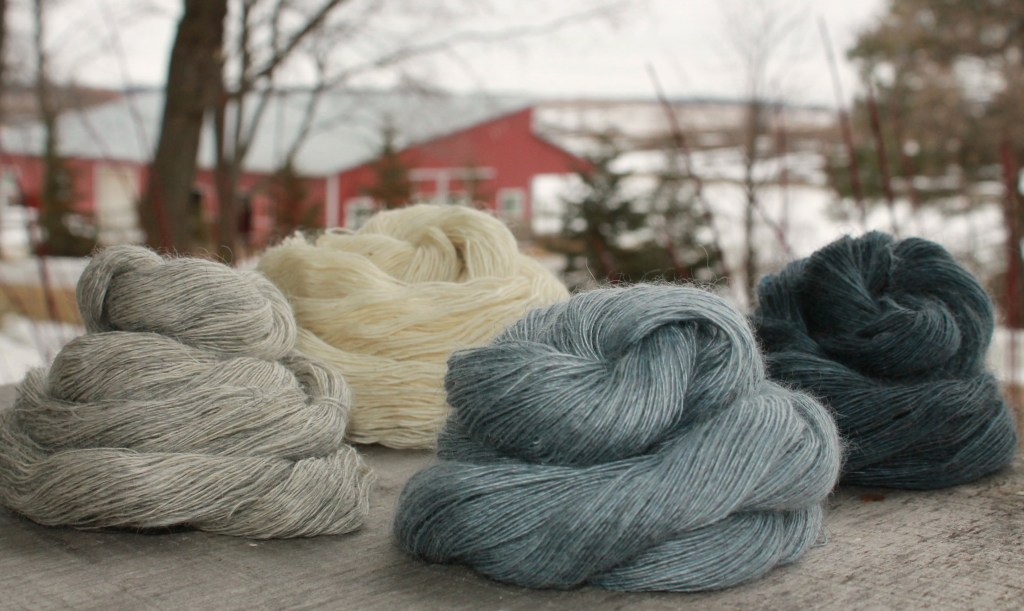gray and blue gradient yarn