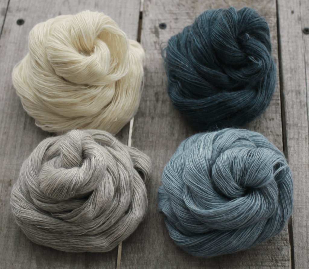 blue gradient mohair and silk yarn