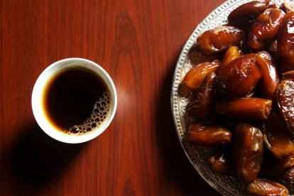 A day of fasting is usually ended with some dates, followed by a meal.