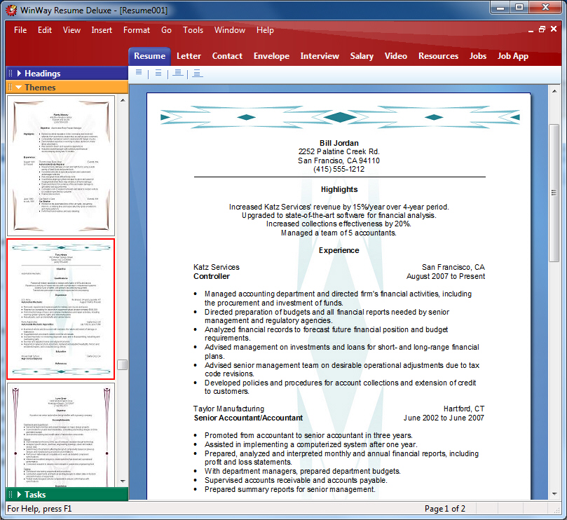 Enhance your resume with professional themes and styles