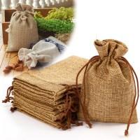 10 NATURAL BURLAP BAGS JUTE HESSIAN DRAWSTRING SACK SMALL ...