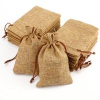 20 NATURAL BURLAP BAGS JUTE HESSIAN DRAWSTRING SACK SMALL ...