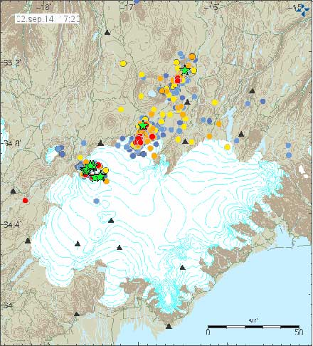 Earthquakes around Vatnajokull, with hot colors marking the most recent earthquakes. Date is in the top left corner. Illustration by Icelandic Meteorological Office.