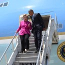 Democratic presidential candidate Hillary Clinton and President Barack Obama campaigned together in North Carolina on July 5. — PHOTO: Facebook/Clinton campaign