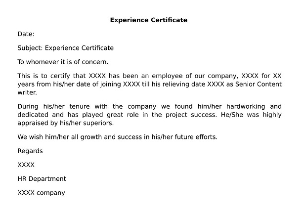 What is Experience Certificate Doc? wisdomjobs