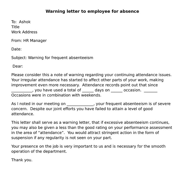 How to write warning Letter for Absenteeism? wisdomjobs