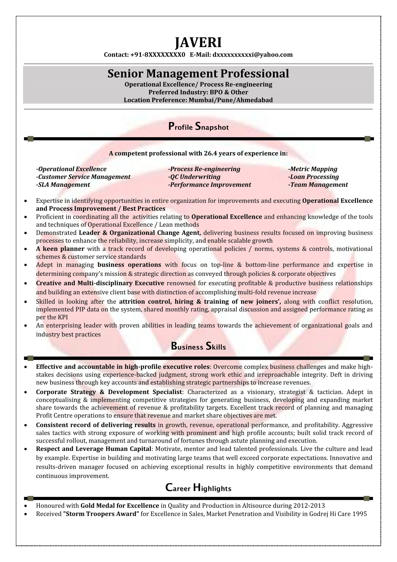 sample resume for experienced ites