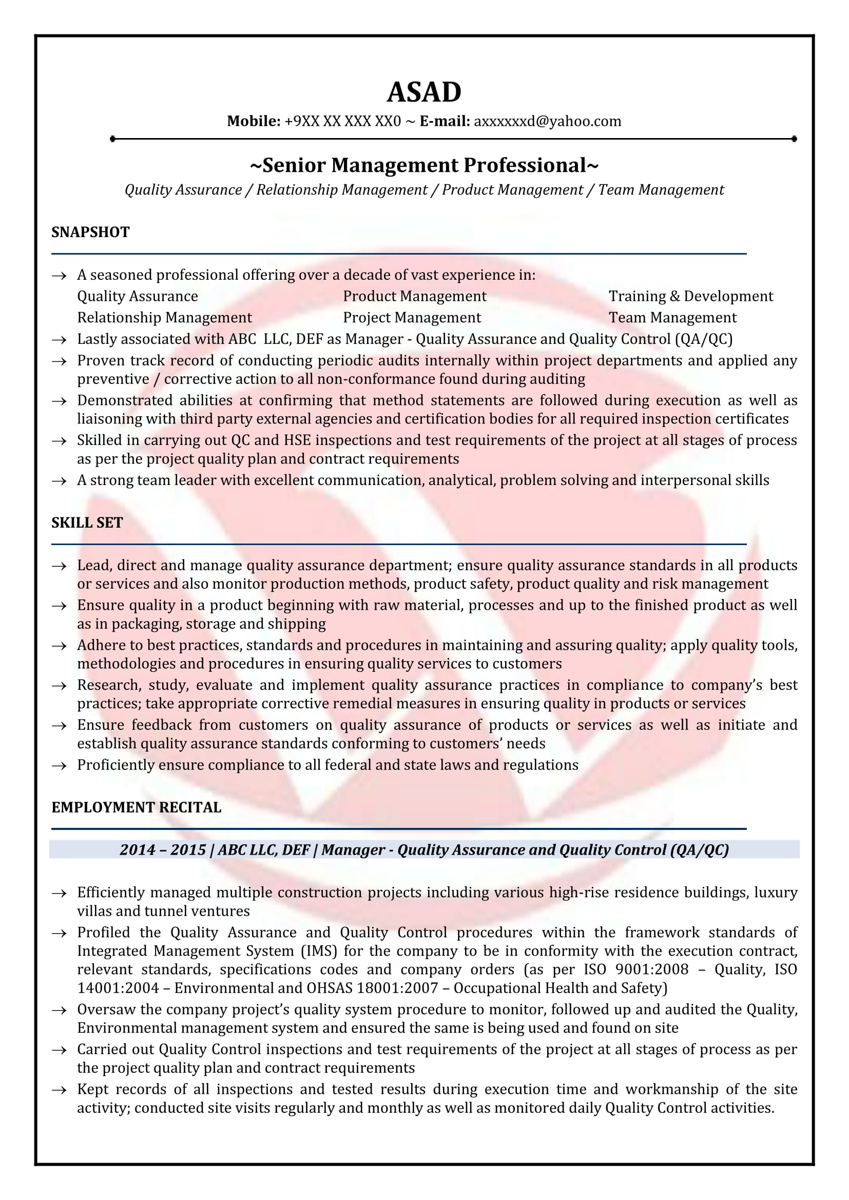 qa resume download