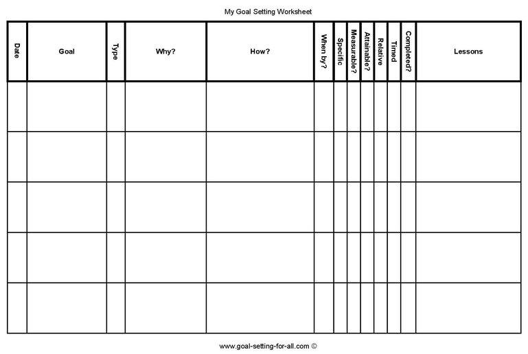 5 Personal Goal Setting Worksheets (Printable PDF) - goal setting templates