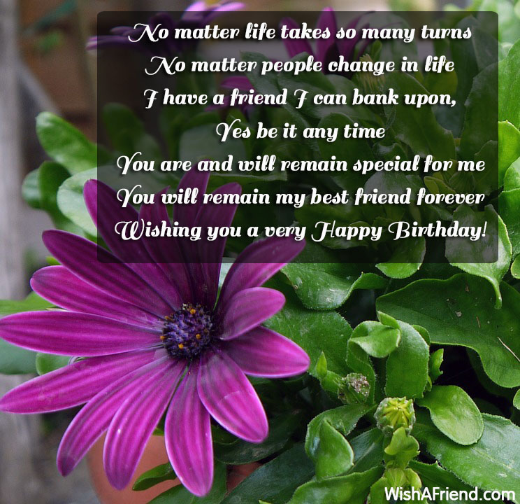 No matter life takes so many, Best Friend Birthday Wishes