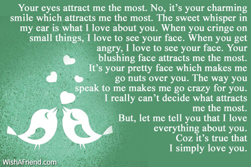 Your eyes attract me the most, Love Letters for Her