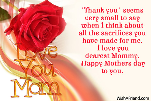 Thank you\u0027 seems very small, Mother\u0027s Day Message - mother's day