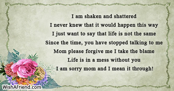 I Am Sorry Messages For Mom - apology card messages
